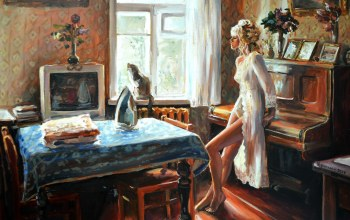 chairs,Window,girl,table,interior,television,piano,room,blonde,painting,artwork,iron