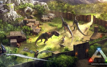 ARK Survival Evolved,prehistoric animals,spear,blades,base advanced base,forest,Dinosaurs,base operations,arms,gate