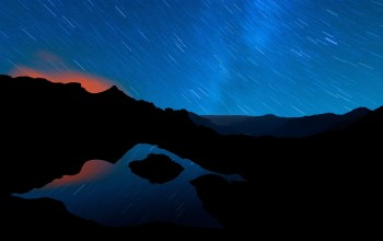 trails,mountain,star,reflection
