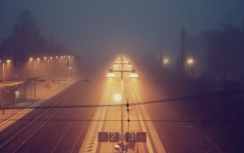 station,foggy,train