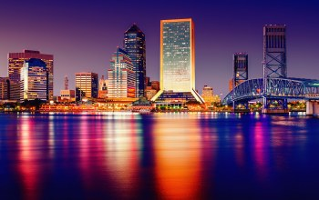 tampa,bridge,lights,water,architecture,united states of america,Cityscape,buildings,skyscrapers