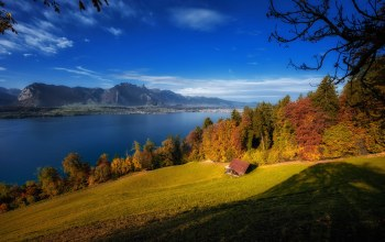 Тунское озеро,Бернский Оберланд,bernese oberland,швейцария,Thun,осень,Тун,Бернские Альпы,Canton of Bern,Switzerland,lake thun,Bernese alps