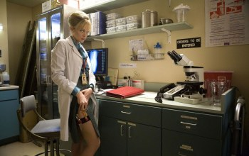 blonde,2007,Dr. Dakota McGraw Block,Dakota McGraw Block,film,thigh,gun,movie,zettai ryoiki,Planet Terror,Shelton,doctor,badge,lab,lab coat,weapon,marley,cinema,Marley Shelton