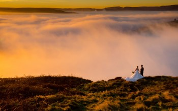 happiness,couple,clouds,mountains,morning,wedding,dawn,joy,dress,groom,sunrise,bride
