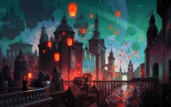 buildings,church,fantasy art,train,architecture,artwork,fantasy,stars,tower,lanterns,dome,fantasy castle,fantasy city,planetary rings,digital art,balcony,Cityscape,bridge