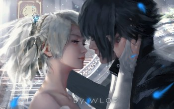 boy,girl,blue eyes,luna,fantasy art,Noctis,feeling,fantasy,Final fantasy xv,mood,painting,hug,kissing,wlop,artwork,game,touching them
