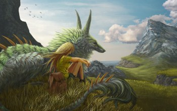 grass,fantasy,trees,blonde,meadow,mountains,artwork,sky,painting art,fantasy art,landscape,clouds,creature,girl,dragon