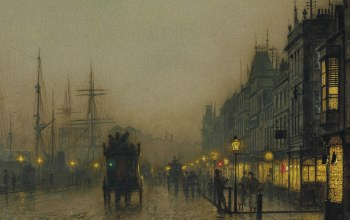 John Atkinson Grimshaw,ночь,городской пейзаж,Reekie. Glasgow,картина,Джон Эткинсон Гримшоу