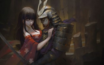 painting,fantasy art,breast,chest,helmet,katana,Dao Le Trong,artwork,japanese girl,fantasy,girl,armor,Cleavage,hug,kimono,sword