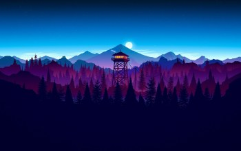 forest,firewatch,kumo,cloud,sunset artwork,sky,game