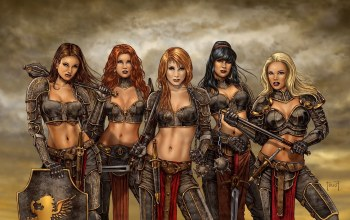 blonde,girl,shield,redhead,red hair,Red,dagger,brunette,weapon
