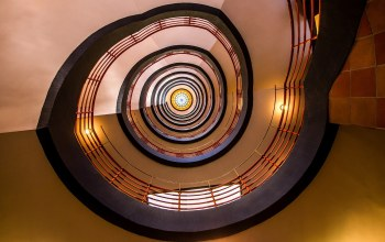 stairwell,stairs,spiral,circle,lights,stained glass