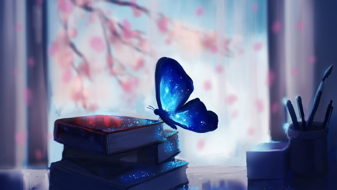 Butterfly,books,blue