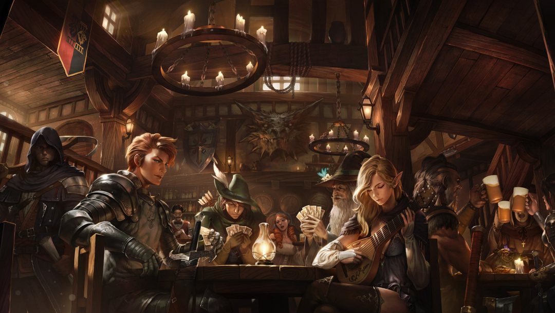 playing,cards,weapons,fantasy,elf,armor,Beer,girl,musical instrument,candles,Arrows,Magician,guitar,table,fantasy art,old,pointed ears,wizard,tavern,boy,sorcerer,artwork,lute,mugs of beer,sword