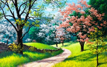 trees,grass,Road,spring,painting