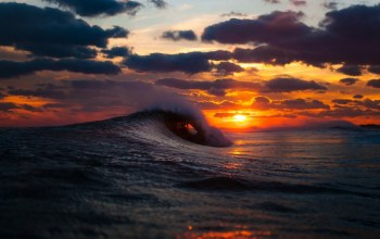 wave,at,Breaking,Sunset
