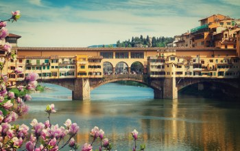 цветение,florence,italy,Ponte vecchio,europe,bridge,Весна,Cityscape,view,флоренция,travel