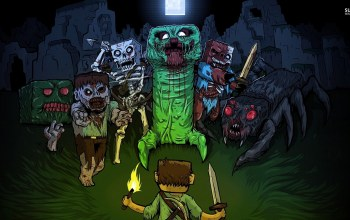 steve,Spider,zombies,and,creeper