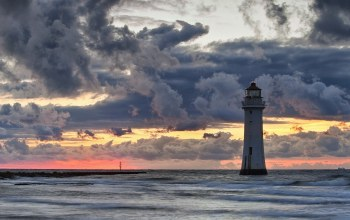 Twilight,stormy,lighthouse
