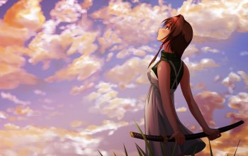 sword,gazing,girl,sky,a,with