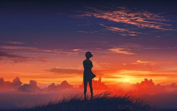 hill,Sunset,girl