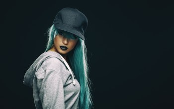 make up,female,Hat,blue hair