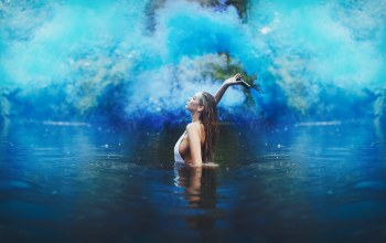 girl,blue,smoke