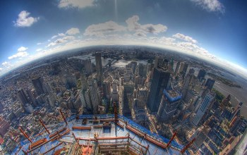 fisheye,World,One,Nyc,center,construction,trade