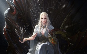 fantasy,princess,fantasy art,mother of dragons,Game of thrones,Khaleesi,artwork,throne,daenerys targaryen,tv series,swords,dragon,films,girl,Dragons