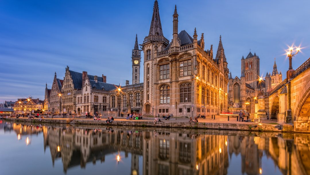 reflection,church,Twilight,Sunset,lights,river,Hogeschool Gent,spiers,architecture,Gand,building,people,belgium,Towers,University of Gand,evening,bell tower