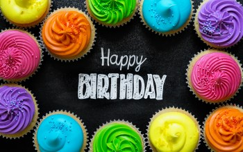 крем,rainbow,день рождения,Colours,decoration,candle,cream,celebration,colorful,cake,happy birthday,Cupcake,кексы