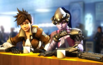 Tracer,lena oxton,отдых,amelie lacroix,blizzard entertainment,встреча,Widowmaker,overwatch