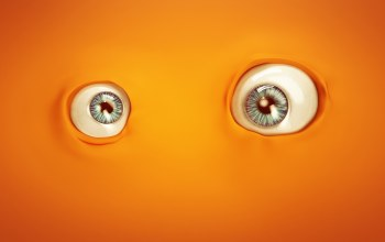 digital art,orange,eyes,artwork,lacza,minimalism