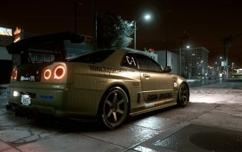GTR R34,улица,top secret copy,nissan skyline,Need for speed 2015,ночь город