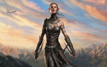 girl,artwork,digital art,landscape,weapons,game,Birds,dragon,fantasy,elf,Divinity: Original Sin 2,fantasy art,mountains,daggers,clouds,pointy ears,sky