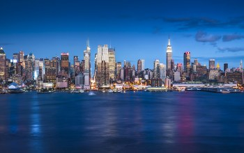 United states,Cityscape,blue hour,skyscrapers,new york,manhattan