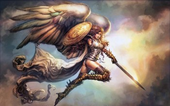 angel,Curly Hair,fantasy art,wings,boots,girl,artwork,shield,armor,sword,cape,fantasy