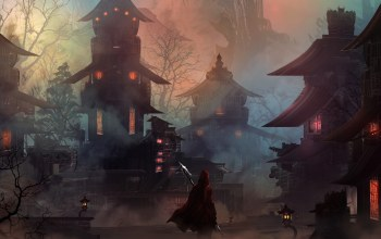 artwork,houses,mist,fantasy city,fantasy art,spear,hood,mood,light,loneliness,lanterns,cape,hero,buildings,digital art,fantasy