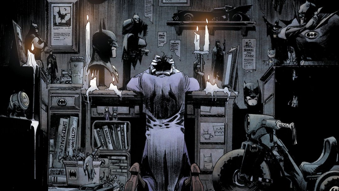 superhero,comics,batmobile,kneeling,scooter,dc comics,artwork,bad,desk,books,fantasy,hood,candles,joker,fantasy art,mask