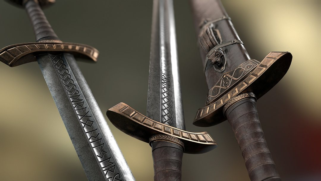 руны,сталь,Viking Sword and Scabbard