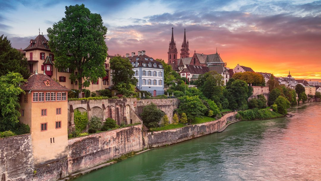Aeschenpl,Basel,Базель,Rhine River,Switzerland,швейцария,дома,здания,Река Рейн