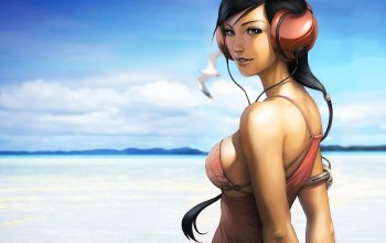 pepper,рисунок,clouds,brunette,beach,косичка,eyes,Pigtail,Artgerm,sky,girl,Художник,Stanley Lau,beauty,look,headphones,наушники,Облака
