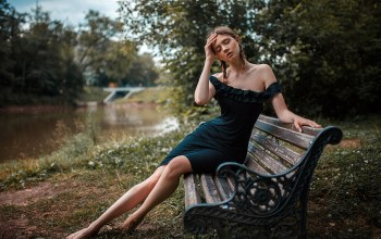dress,trees,river,bokeh,mouth,photo,depth of field,feet,brunette,bare shoulders,park,girl,body,Kate Monich,closed eyes,lips,Face,bench,legs,Disha Shemetova,photographer,portrait,pigtails,barefoot,sitting,long hair,strapless