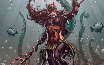 dark multiverse,fantasy,fantasy art,comics,bandage,batwoman,underwater,drowned,mask,dc comics,artwork,fish,superhero
