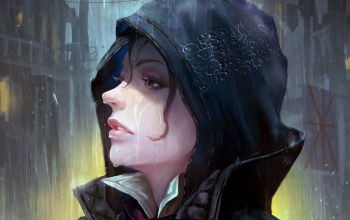 purple eyes,evie frye,fantasy,Face,digital art,wet face,hood,girl,looking away,Assasin
