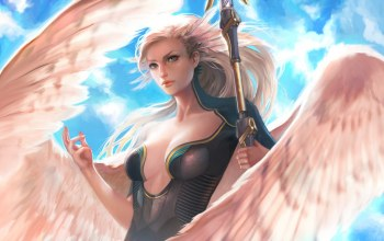 chest,blue eyes,fantasy,fantasy art,Magic,feathers,Cleavage,spear,artwork,wings,girl,breast,angel,blonde