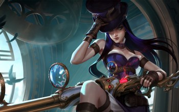 blue eyes,digital art,game,artwork,weapon,Hat,caitlyn,long hair,fantasy,rifle,league of legends,fantasy art,blue hair,girl