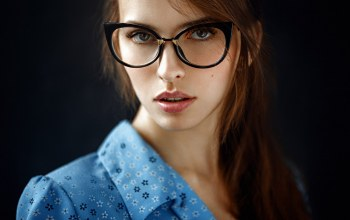 Georgy Chernyadyev,mouth,brown hair,George Chernyadev,looking at viewer,portrait,open mouth,glasses,shirt,Face,photo,girl,lips,brown eyes,photographer,close up,bokeh,looking at camera