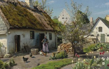 Danish realist painter,датский живописец,Peder Mørk Mønsted,Весна в Хъёмбаеке,1924,Петер Мёрк Мёнстед,Spring in Hjembaek