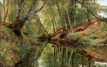 Река в лесу Себю,датский живописец,Danish realist painter,1896,Peder Mørk Mønsted,The river in Saeby skov,Петер Мёрк Мёнстед